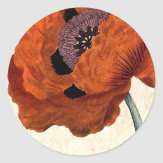 Eastern Poppy Classic Round Sticker