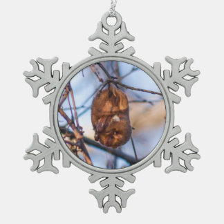 Eastern Red Bat Snowflake Pewter Christmas Ornament