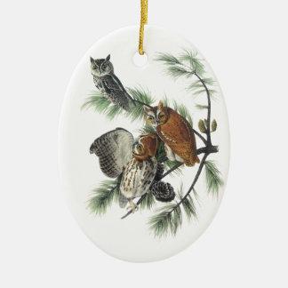 Eastern Screech Owl, John Audubon Ceramic Ornament
