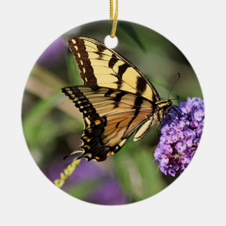Eastern tiger swallowtail butterfly profile round ceramic ornament