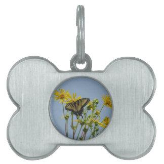 Eastern Tiger Swallowtail on Yellow Daisies Pet Name Tag
