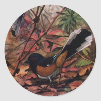 Eastern Towhees and Purple Aster Round Sticker