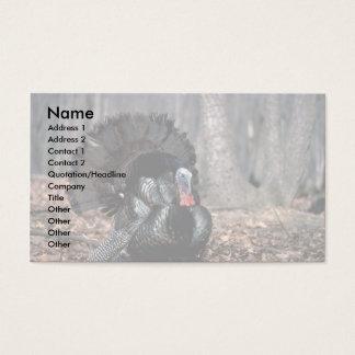 Eastern wild turkey strutting in woods business card