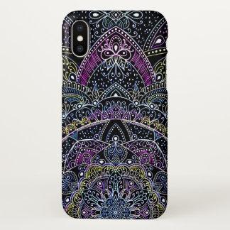 Eastern Zen Bright colorful Mandala  lace black iPhone X Case