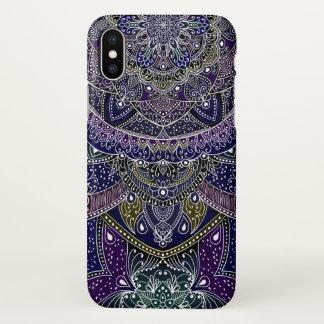 Eastern Zen Mandala Fine white lace on purple iPhone X Case