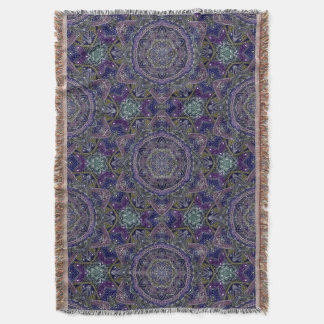 Eastern Zen Mandala Fine white lace on purple Throw Blanket