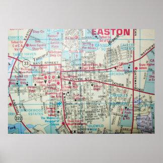 Easton, MD Vintage Map Poster