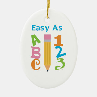 EASY AS ABC CERAMIC OVAL ORNAMENT