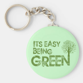 Easy being green basic round button keychain