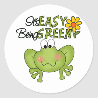 Easy Being Green Frog Classic Round Sticker