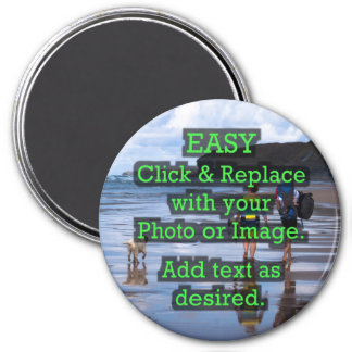Easy Click & Replace Image to Create Your Own 3 Inch Round Magnet
