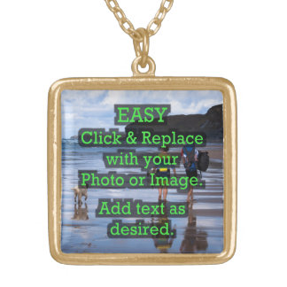 Easy Click & Replace Image to Create Your Own Gold Plated Necklace