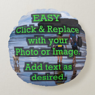Easy Click & Replace Image to Create Your Own Round Pillow