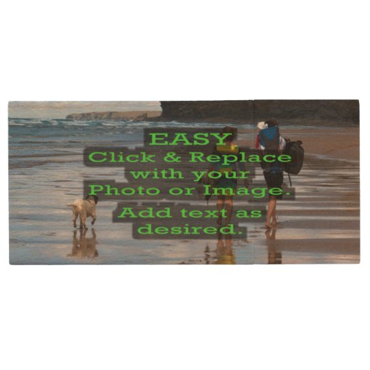 Easy Click to Create Your Own Horizontal Image on Wood USB Flash Drive