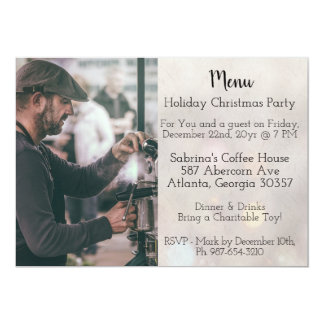 Easy Coffee Shop Menu Style Christmas Party Card
