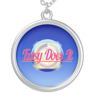 EASY DOES IT logo style Silver Plated Necklace