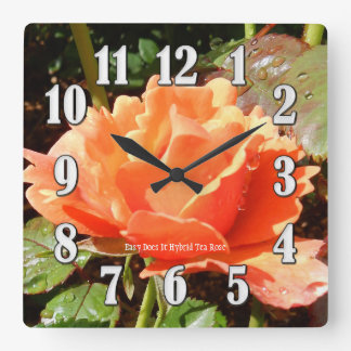 Easy Does It Orange Rose Large Numbers Wall Clock
