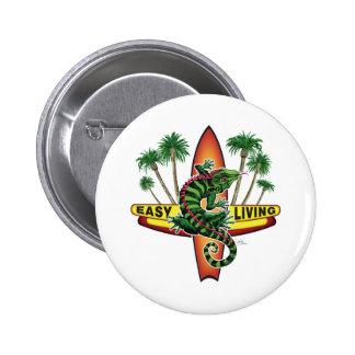 Easy Living Lizard Beach Wear 2 Inch Round Button