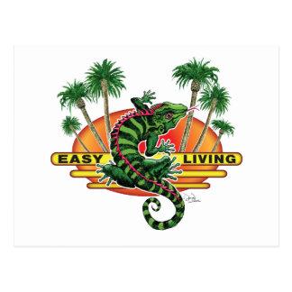 Easy Living Lizard on the Beach Postcard
