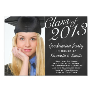 Easy to Customize Graduation Portrait Photo Party Card