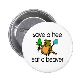 Eat A Beaver Pinback Button