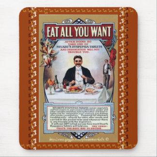 Eat all you want-Stuarts Vintage Dyspepsia Tablet  Mouse Pad