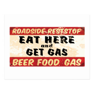 Eat and get gas postcard