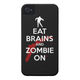 eat brains and zombie on iPhone 4 Case-Mate case