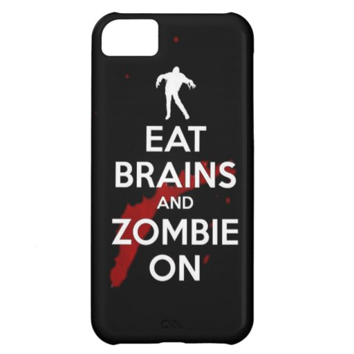 Eat brains and Zombie on keep calm walkers dead un iPhone 5C Covers