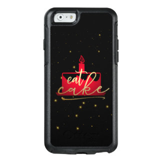 """Eat Cake"" whimsical red and gold foil iphone case"