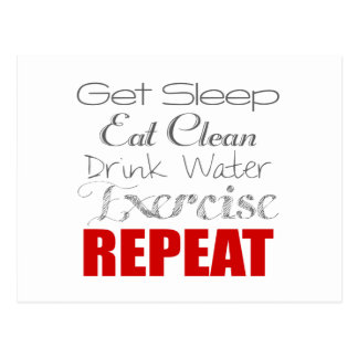Eat Clean, Drink Water, Exercise & Repeat Postcard