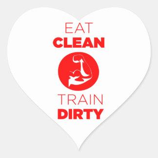 Eat Clean Train Dirty Fitness Heart Sticker