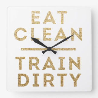 Eat Clean Train Dirty Gold Glitter Wall Clock