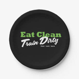 EAT CLEAN TRAIN DIRTY Gym Workout Fitness Party Paper Plate