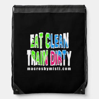 Eat Clean Train Dirty, Macros by Misti Bag Drawstring Backpack