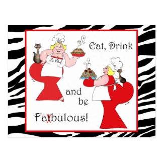 Eat, Drink and Be Fatbulous! Postcard