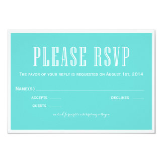 Eat Drink and be Married Blue RSVP Card