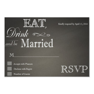 "Eat Drink and be married chalkboard RSVP Cards 3.5"" X 5"" Invitation Card"