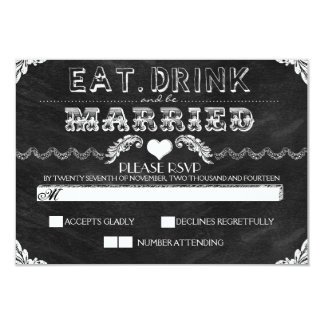 eat drink and be married chalkboard wedding RSVP Card