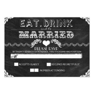 eat drink and be married chalkboard wedding RSVP Custom Announcements