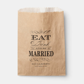 Eat Drink and Be Married Custom Wedding Favour Bag
