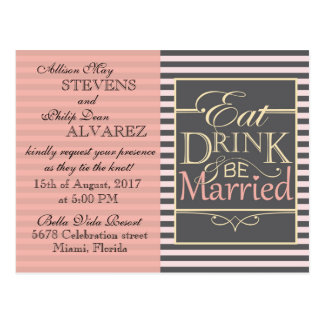 Eat, Drink and be Married design. Postcard