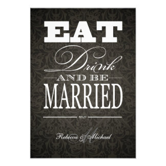 Eat Drink and be Married - Elegant Black Damask Custom Announcements