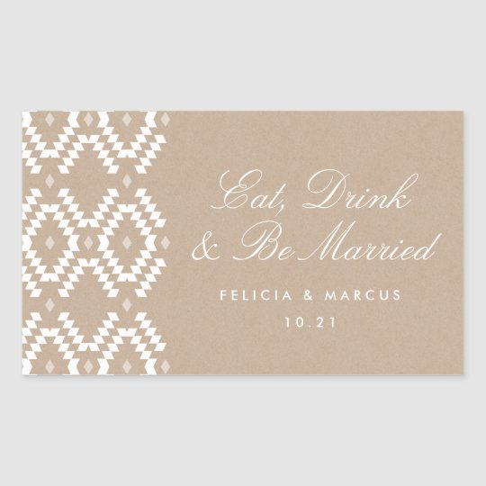Eat, Drink and Be Married label, mini champagne Sticker