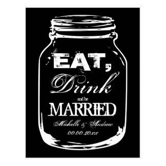 Eat drink and be married mason jar thank you cards postcard