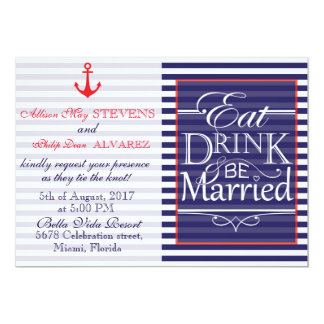 Eat, Drink and be Married nautical design Card
