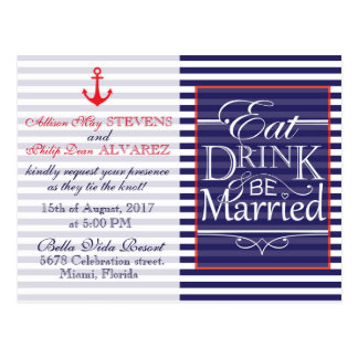 Eat, Drink and be Married nautical design. Postcard