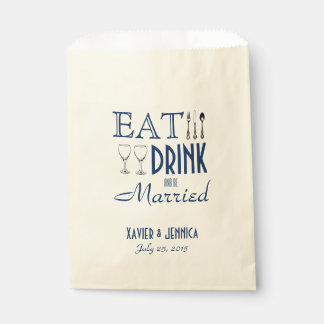 Eat Drink and be Married Personalized Silverware Favour Bag