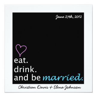 Eat Drink and Be Married Save the Date Card