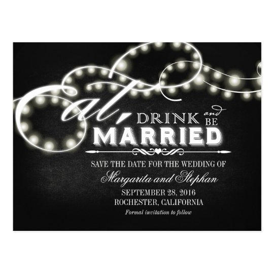 Eat, drink and be married save the date postcards